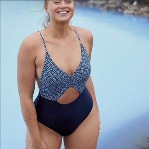 [Aerie] Mixed Blue One Piece Cut Out Swimsuit